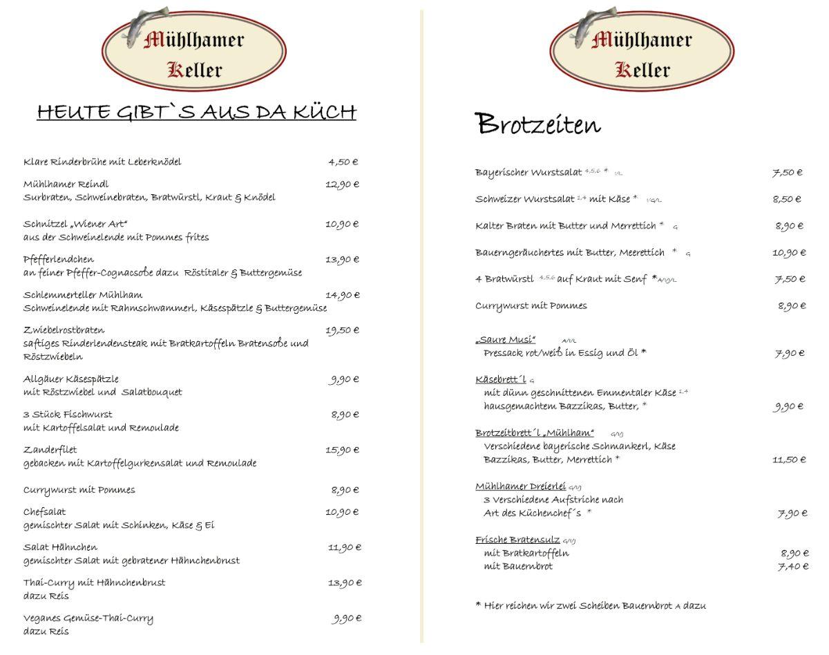 Biergarten-Schmankerl-Karte